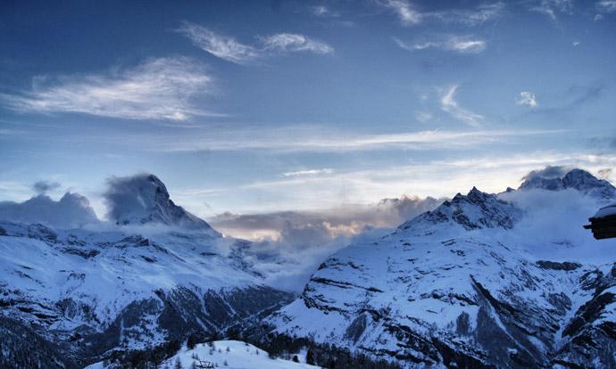 Sonneuntergang-Berge-Zermatt