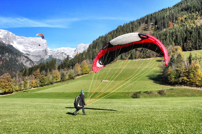 Paragliden in Werfenweng-Landung