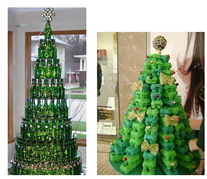 unechte-weihnachtsbaum-basteln-flaschen und eierkartons