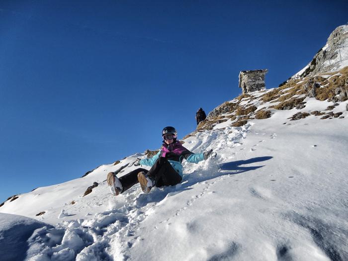 Snowboarden in Tirol: Bislang bin ich auch auf dem Popo immer ganz gut runter gekommen...