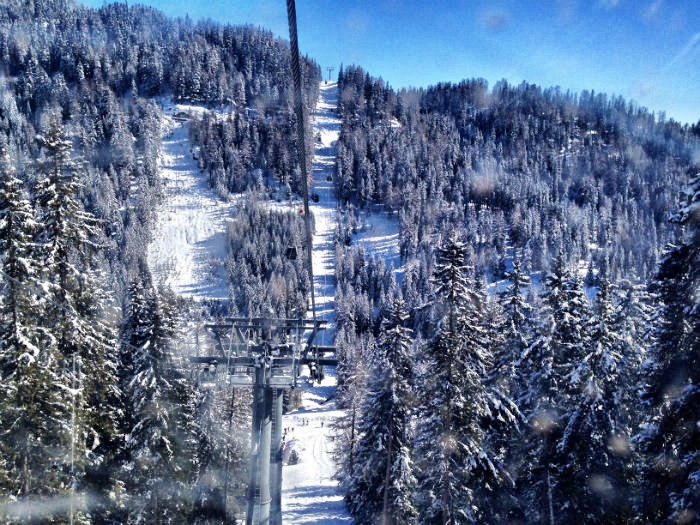 Im Lift zum Gipfel