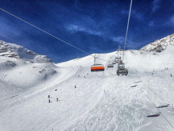 Skifahren auf der Zugspitze - Aus dem Lift