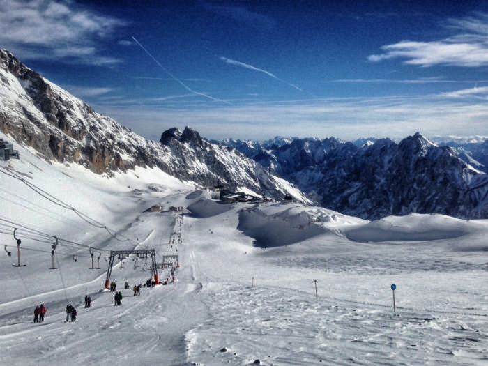 Skifahren auf der Zugspitze - Aussicht Lift