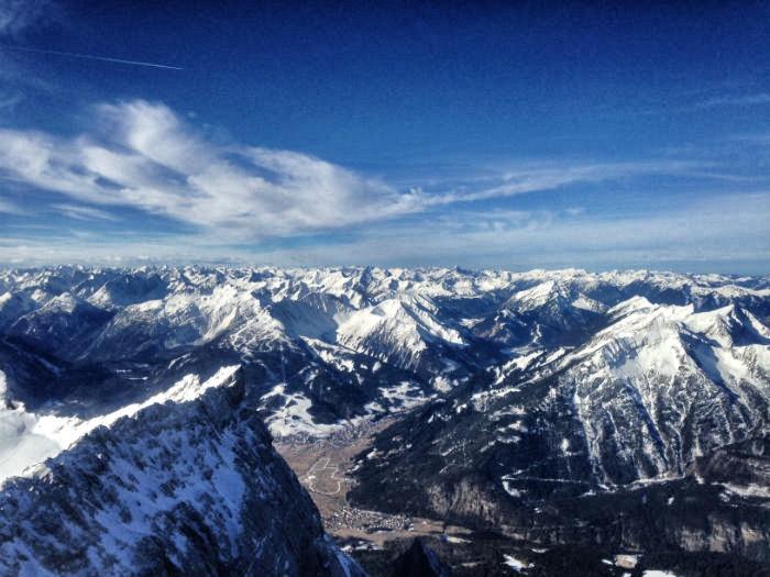 Skifahren auf der Zugspitze - Bergpanorama