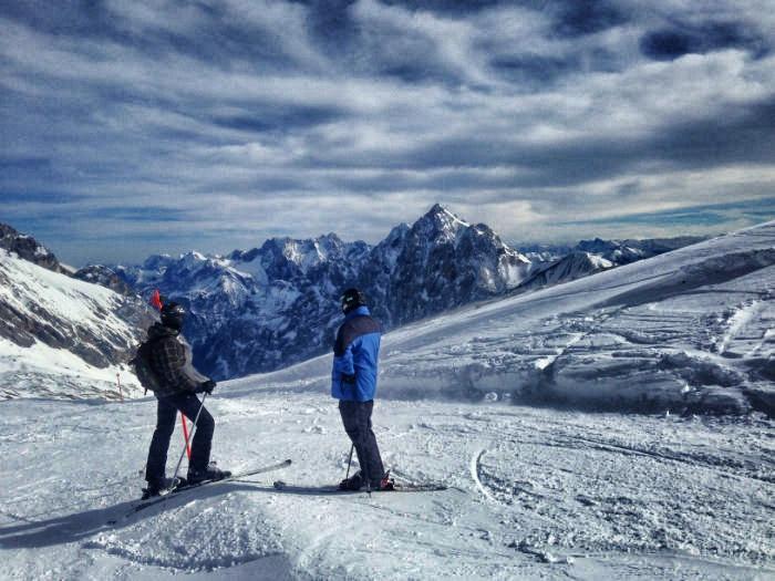 Skifahren auf der Zugspitze - Gipfelaussicht