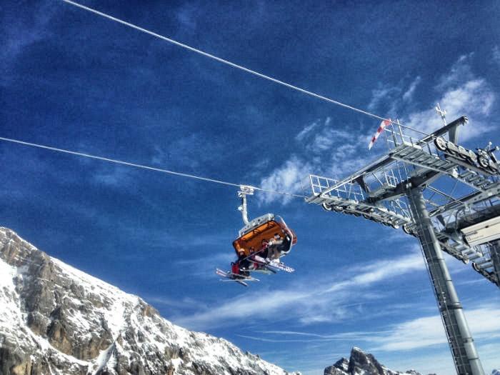 Skifahren auf der Zugspitze - Sessellift
