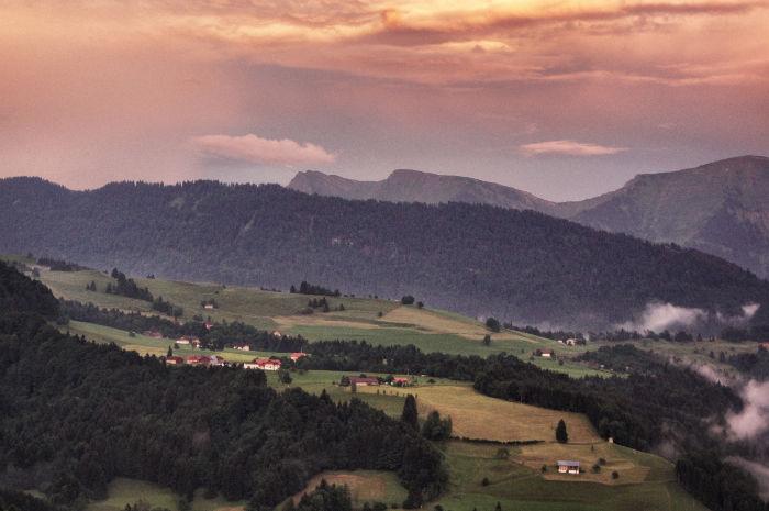 Sonnenuntergang in Oberstaufen