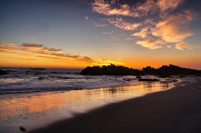 Sonnenuntergang-Afrika-Atlantik