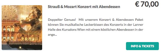 Strauß und Mozart Konzert mit Abendenssen