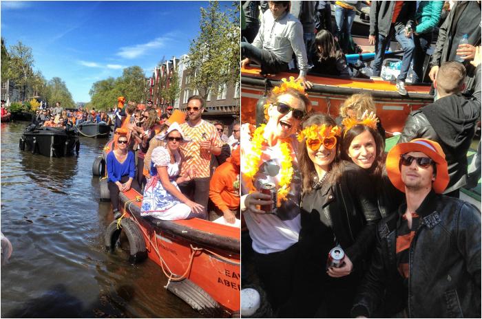 King's Day in Amsterdam auf dem Boot