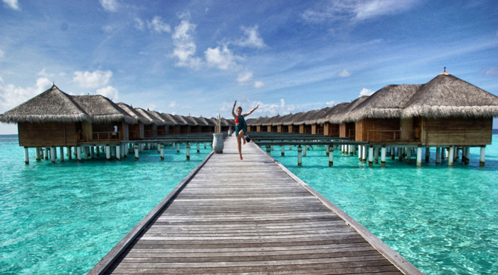 The water bungalows on Maafushivaru