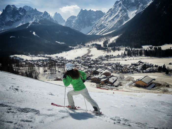skiing in the dolomites -