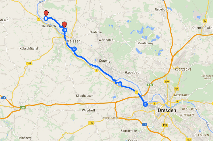 Meißen nach Dresden