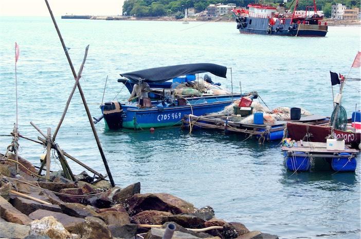 Tagesausflug auf Lantau Boote im Hafen von Tai O