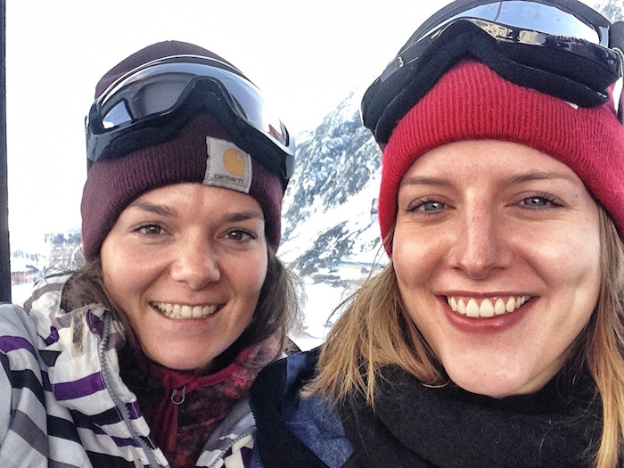 snowboarden in stubai anne und rena