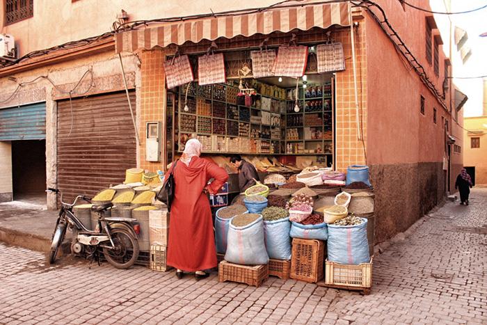 Urlaub in Marrakesh Marktstand