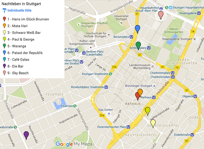 Insidertipps Stuttgart - Nachtleben-Karte