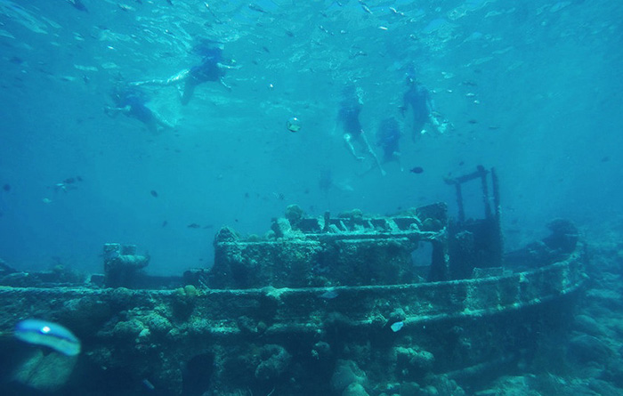 Schnorcheln am Wrack des Tugboats
