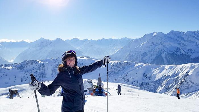 Auszeit vom Job beim Skifahren