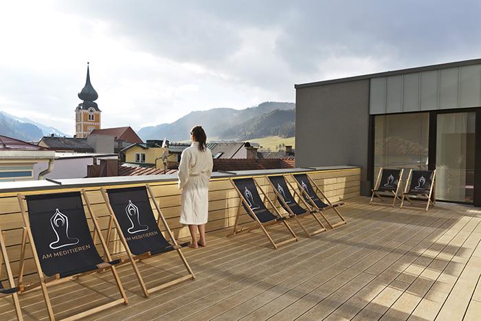 Blick von der Terrasse des Hotel Brunner