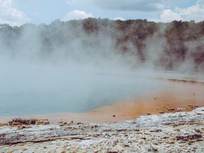 Ein Geothermalfeld in Rotorua