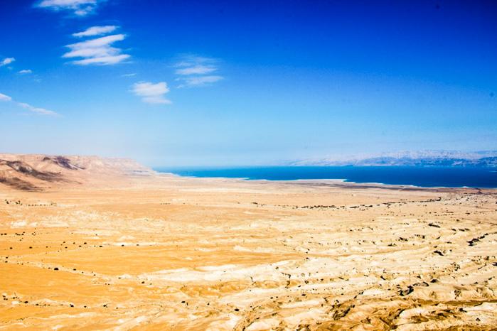 Fantastische Aussicht von Masada über das tote Meer
