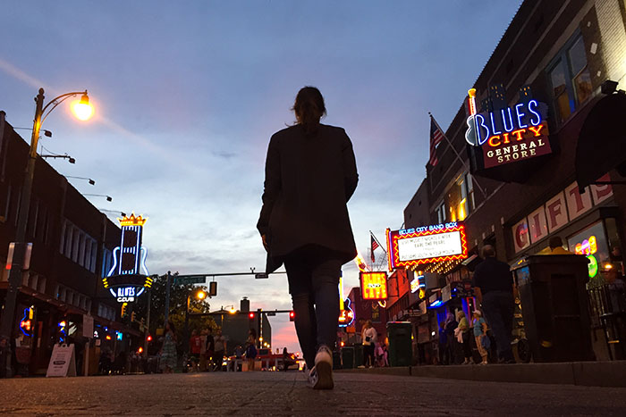 Walking in Memphis on Beale Street