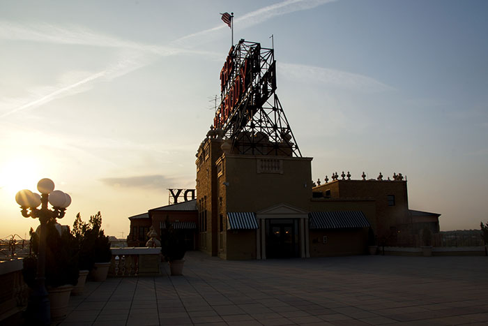Auf dem Dach des Peabody Hotels