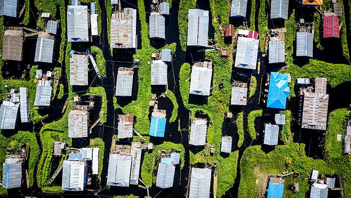 Drone Fischerdorf von oben