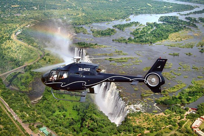 Helikopter Viktoriafälle Sambia