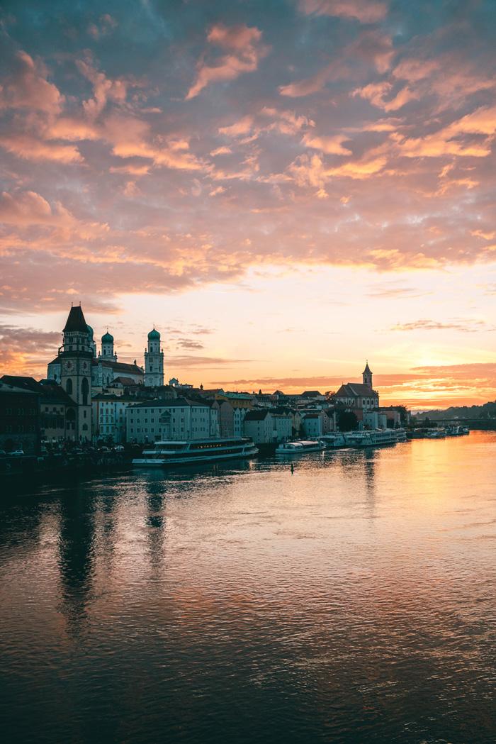 Sonnenuntergang Brücke Passau