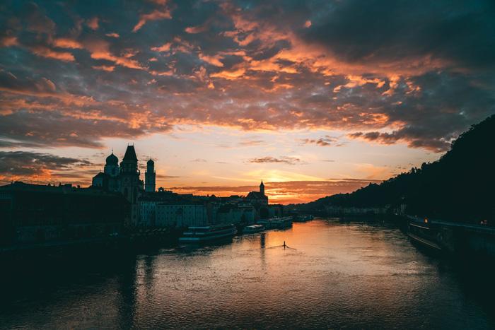 Sonnenuntergang in Passau