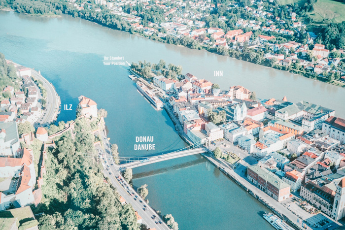 Zusammenfluss der Flüsse Passau