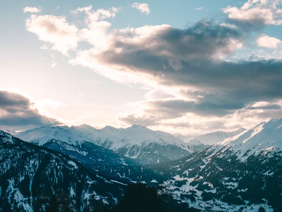 Sonnenuntergang Skigebiet Hochzeiger