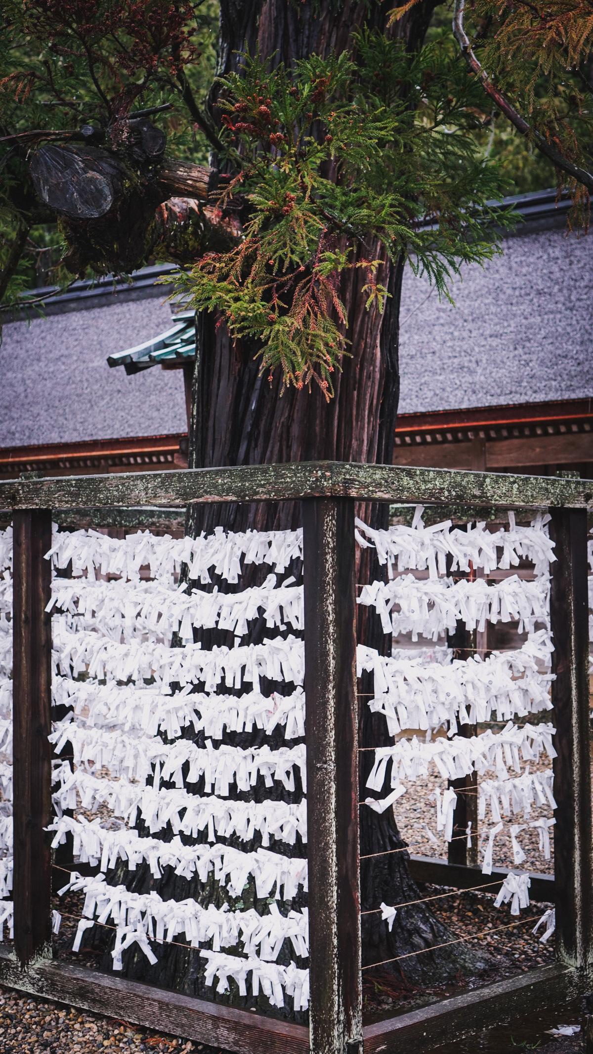 Da Okuninushi auch der Gott der Wünsche ist, schreiben Leute hier ihre Wünsche auf kleine Papiere