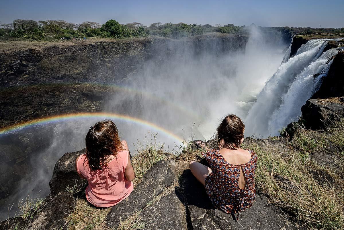 Ausblick auf die Viktoriafälle Sambia