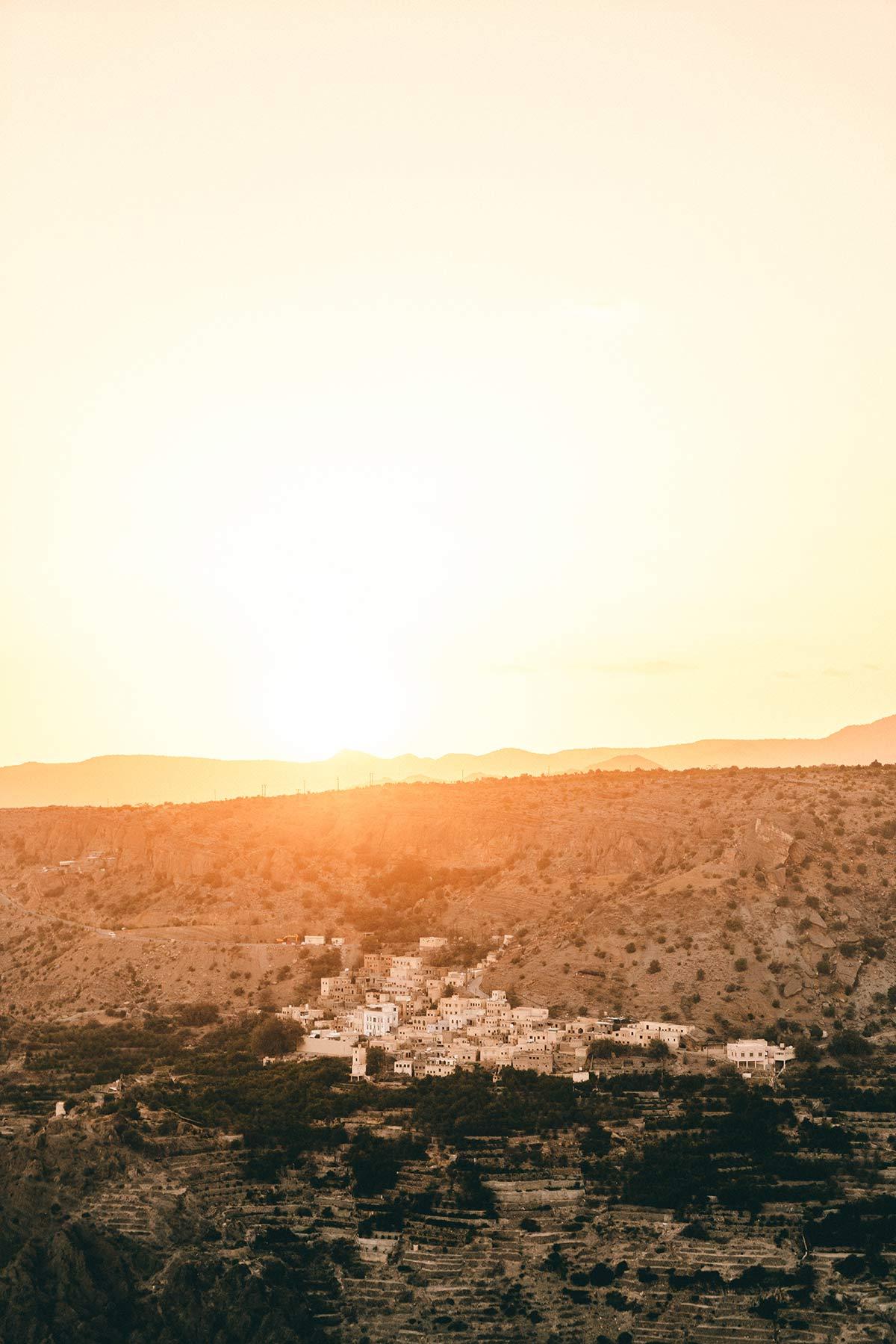 Sonnenuntergang Berge Oman