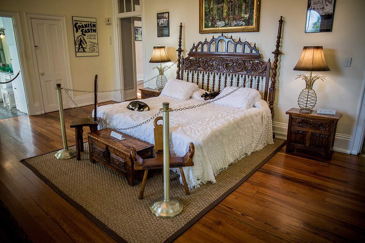 Hemingway Haus Key West Bett mit schlafenden Katzen