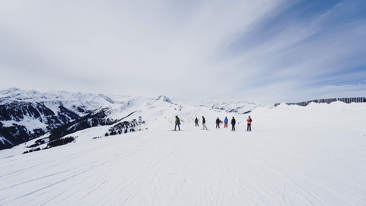KitzSki Gebiet Piste Ausblick
