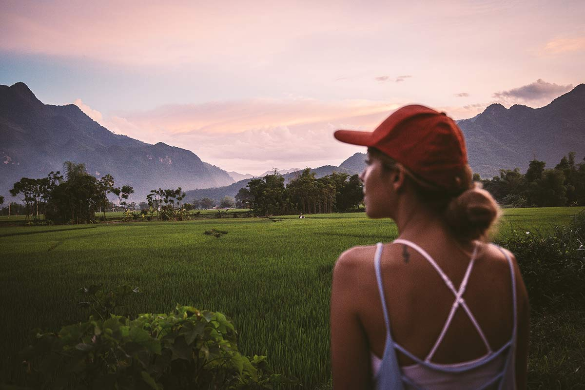 Sonnenuntergang im Mai Chau Tal Nordvietnam