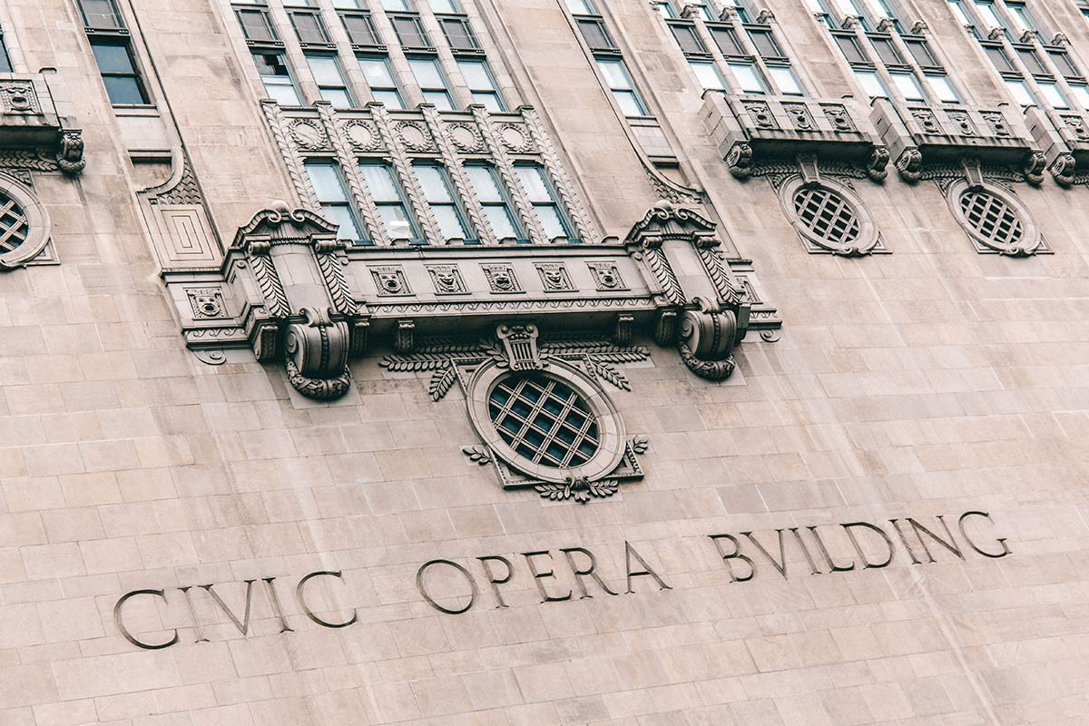 Art Deco Civic Opera Building in Chicago