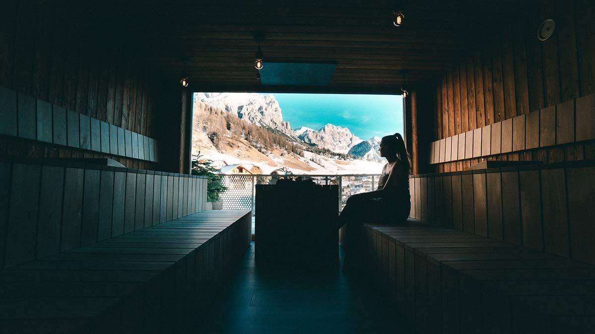 Hotel Tofana Sauna mit Ausblick