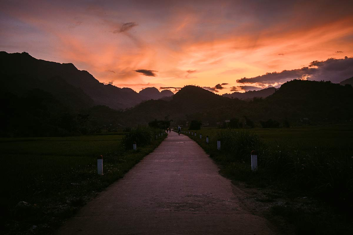 Sonnenuntergang Mai Chau Tal Vietnam