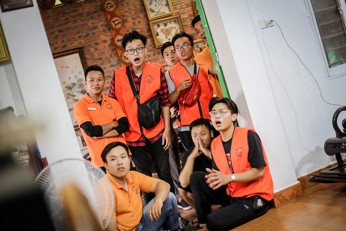 Spannendes Fussballspiel in Hanoi Vietnam