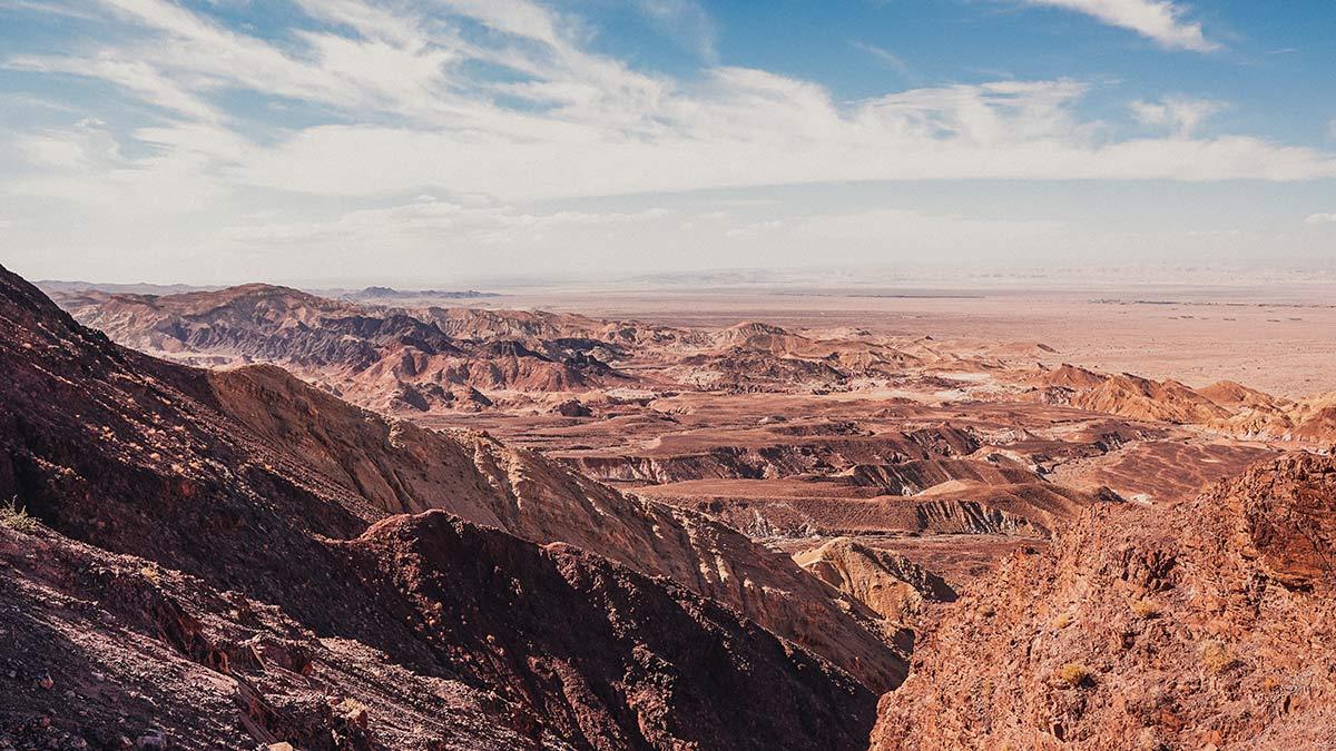 Fahrt nach Petra Ausblick Berge Landschaft