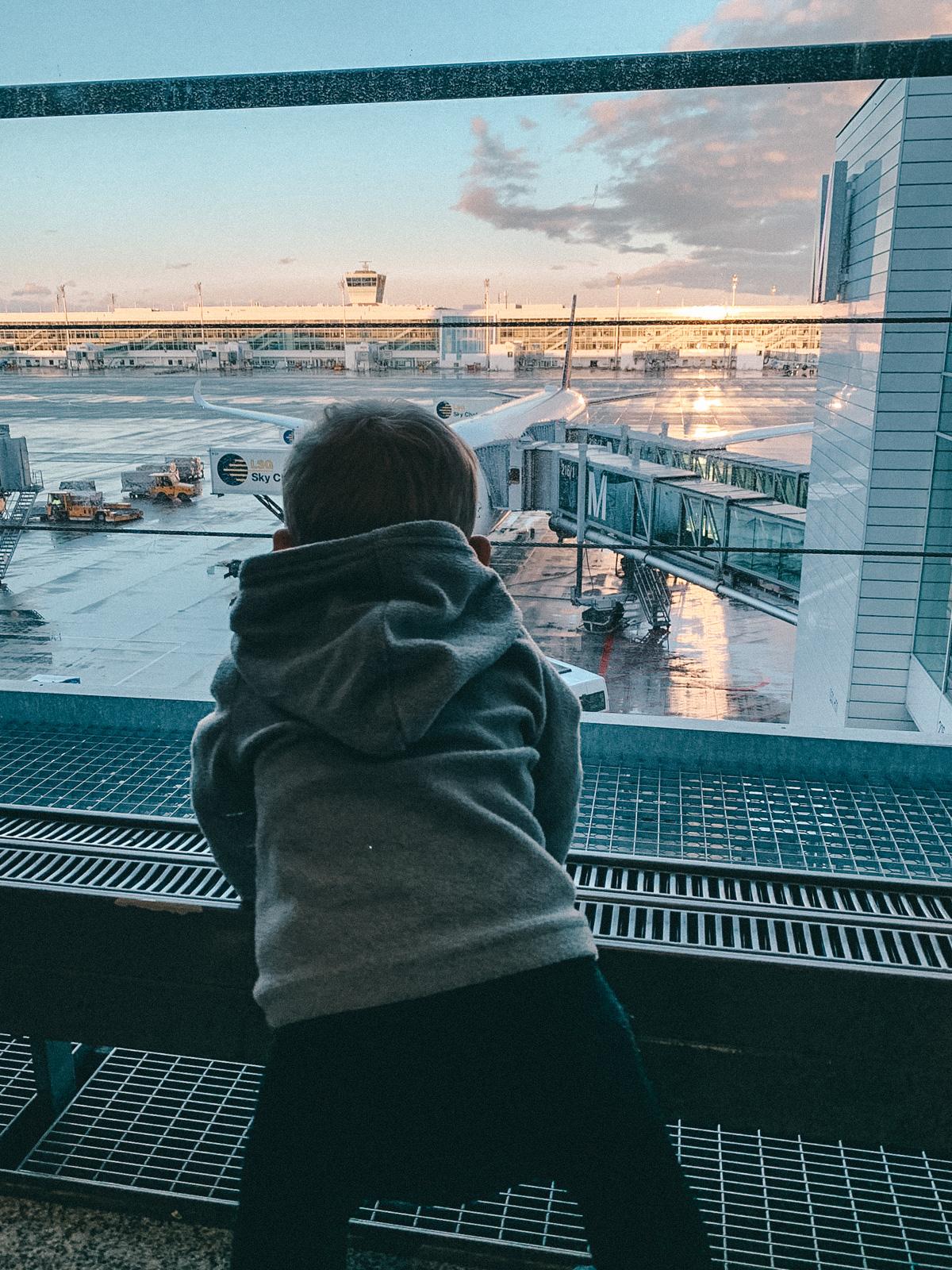 Vor dem Start am Flughafen München