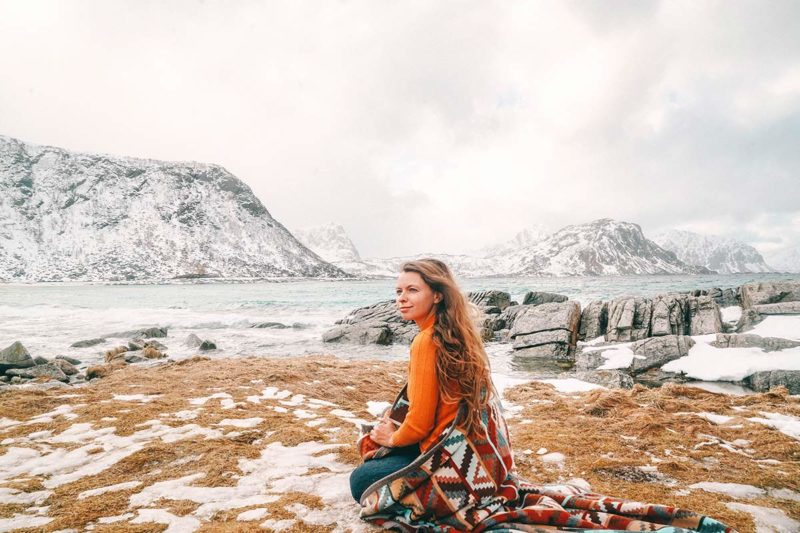 Haukland Beach Lofoten im Winter