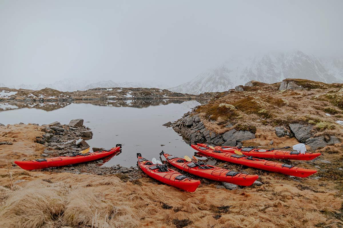 Norwegen Kajak Lofoten im Winter