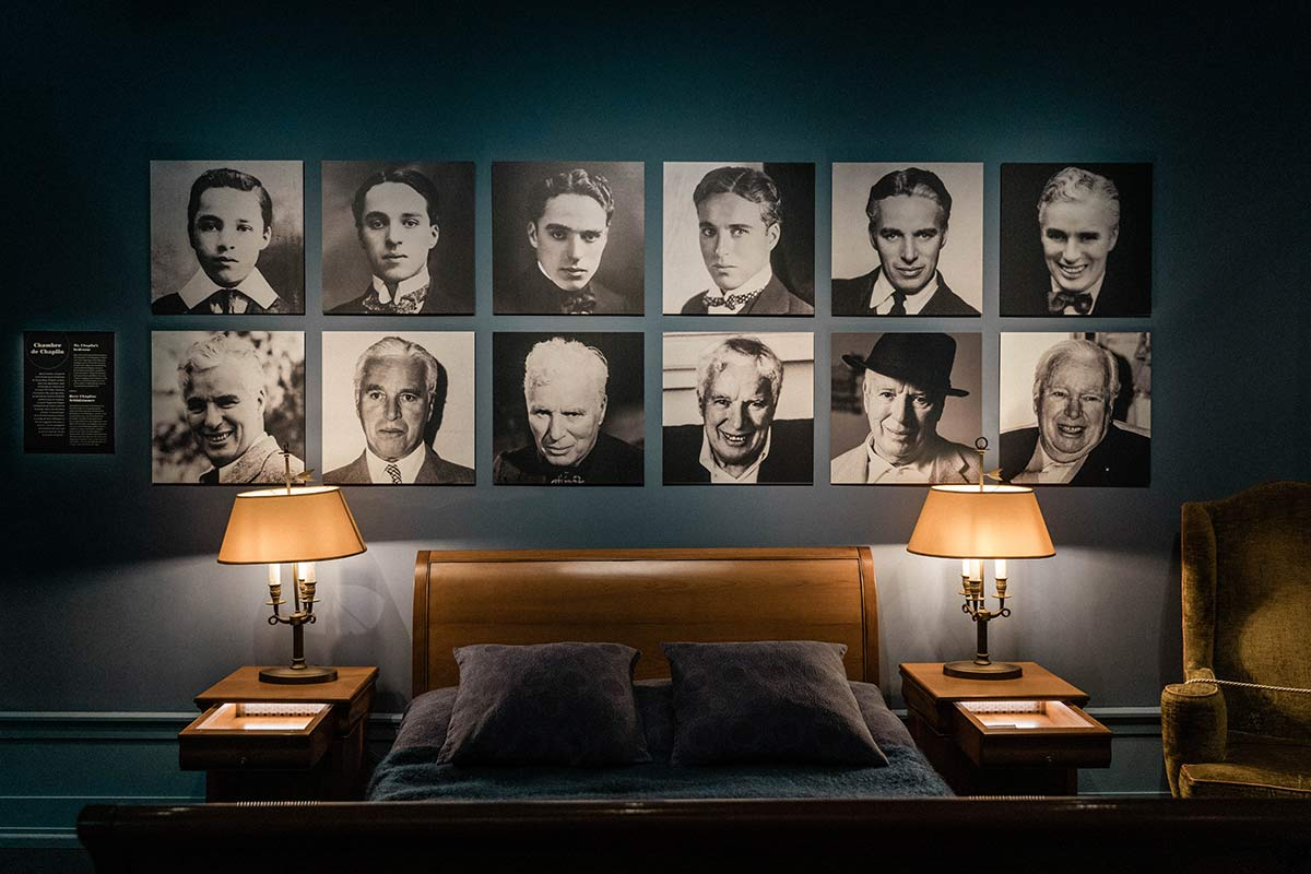 Schlafzimmer in Charlie Chaplins Wohnhaus in Corsier sur Vevey